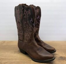 "Justin Ladies Western Boots 12"" Height Purple & Pink Stitching Size 9C (B21)"
