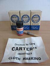 3 Vintage Carter's Cloth Marking Ink Outfit #483 w/ Boxes, Pen, + Pen Holder
