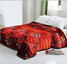 Solaron Korean Blanket throw 3D Mink silky queen Red Roses Flowers new