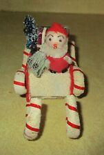 Vintage Spun Cotton & Chenille Santa & Mica Sleigh Christmas