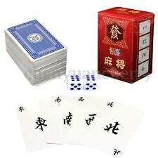 Chinese mAh Jong 144 Paper Mahjong Playing Cards Family Game Travel Set Dice
