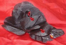 "Goth Black Rose,red gem ""blood drops"" Barrette~Handcrafted Hair Clip"