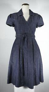 Women's TALBOTS PETITES Dark Blue Denim Short Sleeve Belted Dress Size 2