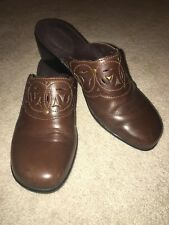 Clarks Bendables Brown Leather Mule Clog Women's US 9M