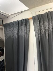 Pottery Barn Textured Curtain Panels Embroidery 50x96 Gray Cott/Linen Pair lined