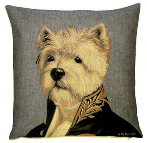 """NEW 18"""" AMBASSADOR WESTY ARISTODOGS BELGIAN TAPESTRY CUSHION COVER WITH ZIP 488"""