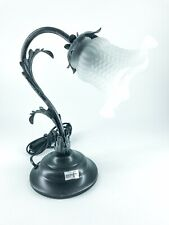 Lamp Lampshade Bedside Table Wrought Iron Leaves Acanthus Glass Satin