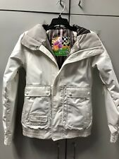 BURTON DRYRIDE White Faux Fur Hooded Ski Snowboarding JACKET Women XXS