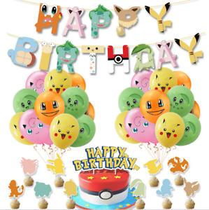 Pokemon Party Supplies Set, Pokemon Birthday Party Decorations, Picachu Balloons