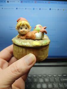 Vintage HOMCO Porcelain TRINKET BOX ELF Gnome Pixie & Mushroom