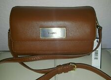 DKNY Pebbled Brown Leather Crossbody Bag Double Flip Purse Clutch NWT  $198