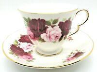 Vintage Queen Anne Bone China England Tea Cup And Saucer Roses 8660