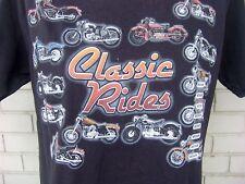 Motorcycle Classic Rides Chopper Hog Black T-Shirt Size Medium