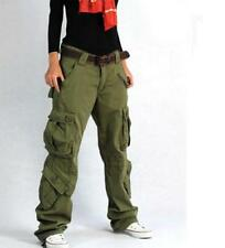 Womens Military Overalls Trousers Cargo Long Pants Outdoor loose Fit Straigh Leg