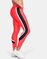 NWT Under Armour Women's HeatGear Stripe Ankle Crop Tights Size Large - Orange