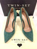 TWIN-SET SIMONA BARBIERI Decollete Pumps Schuhe Shoes Leder grün green NEU BOX!