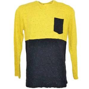 Ferlpa uomo moda bicolore giallo e nero con taschino in caldo cotone slim fit co