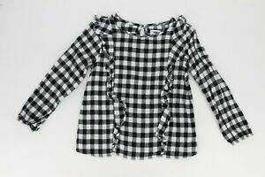 Old Navy Big Girls Flannel Checker Blouse Top with Ruffles Large (10-12) Black
