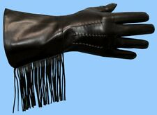 NEW MENS size 9.5 or XL BLACK LAMBSKIN LEATHER GAUNTLET FRINGE GLOVES
