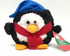 Penguin In Blue Hat Red Scarf Stuffed Animal Toy Christmas House Plush  New