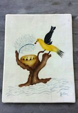 Vintage Arts and Crafts Ink Drawing on Brushed Cotton - Folk Art - Signed