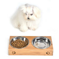 Double Bowls Bamboo Height Stand Pet Dog Stainless Steel Feeder Food Water Bowl
