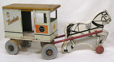 Vtg Bordens Milk and Cream Tin & Wood Horse Drawn Truck 1930s A Rich Toy