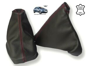 Gear Handbrake Gaiter For Opel Vauxhall Corsa D 06-14 Leather Red Stitching