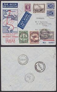 Belgium / Congo 1935 SABENA Airmail cover LIEGE - LEOPOLDVILLE - LIEGE.....A6831
