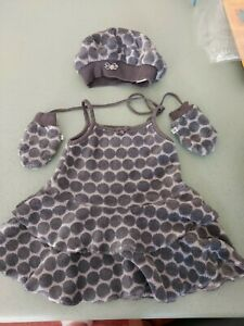 GYMP baby Girl Grey Soft Outfit Dress Mittens Hat Designer 9-12 months size 74