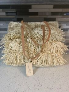 New With Tags Universal Thread Goods Natural Straw Beach Carry All Tote Bag