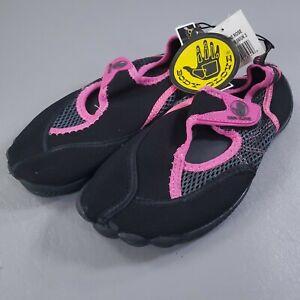 Body Glove Horizon Slip On Water Shoes Girls Size 4 Black Pink Mesh