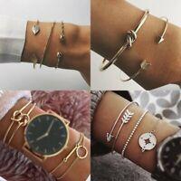 Women Stainless Steel Lots Style Cuff Open Bracelet Bangle Chain Jewelry Gifts