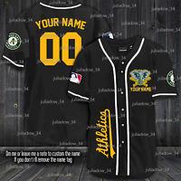 Personalized Oakland Athletics Baseball Jersey Black, White XS-4XL