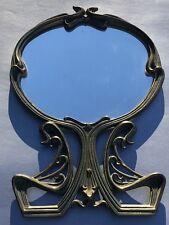 Authentic Art Nouveau Cast Bronze Vanity Mirror Genuine Antique Art Deco Brass
