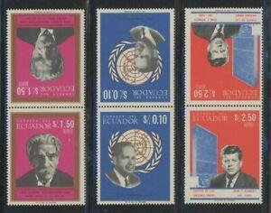 Ecuador 1966 Famous Men se-tenant set Sc# 753-53D NH