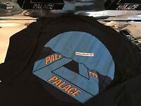 PALACE SKATEBOARDS FW16 TRI CURTAIN LARGE BLACK LONGSLEEVE LS TEE L BLUE FERG