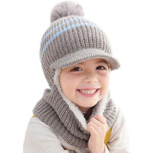 Toddler Kids Girls Earflap Knit Balaclava Hats Baby Boys Winter Scarf Caps Warm