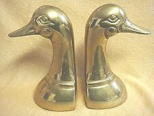 VINTAGE BRASS DUCK BOOKENDS - Heavy & Handsome