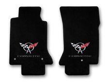 1997-2004 Corvette 2pc Black Carpet Floor Mats w Silver Corvette & C5 Flags Logo