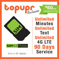 1 2 3 MONTH SIMPLE MOBILE SIM Card $50 PLAN 90 Days Unlmited 4G LTE+10GB Hotspot