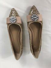Ladies Crown & Ivy Size 9 M Addison Gold Sparkle Jeweled Flats Women's