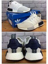 Adidas Para Hombre UK 7 UE 40 2/3 Blanco Negro Marina NMD R1 Zapatillas Rrp £ 110 lb