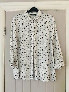 Ladies Papaya Long Sleeve Blouse Shirt White With Black Stars Size 14