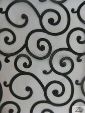 "SPIRAL FLOCKED ORGANZA FABRIC - Black On White - 60"" WIDTH SOLD BTY"