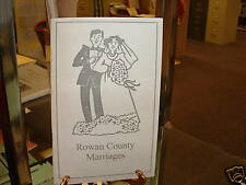 Rowan County NC North Carolina Marriages book booklet