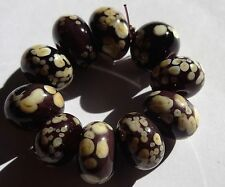 10 OPAQUE PURPLE WITH IVORY FRIT SPACER LAMPWORK BEADS SRA