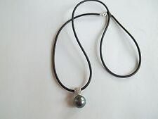 "14K PJS necklace,9mm black pearl+diamonds pendant,great pre-own cnd,16""long,"