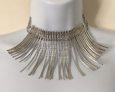 Silver Tone Metal Outward Curved Bars Collar Choker Necklace