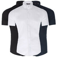Mens Short Sleeve Dress Shirts Casual Solid Business Formal Slim Fit Shirt Top